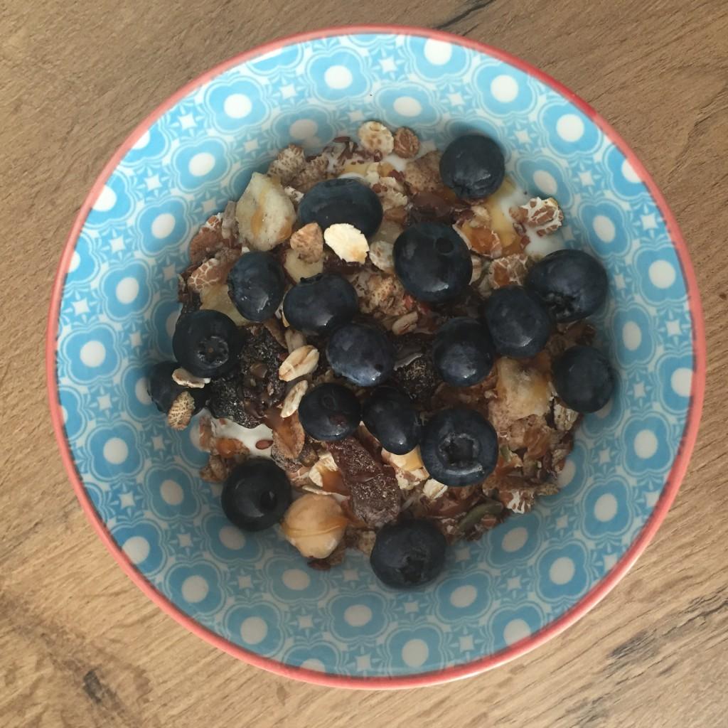 yoghurt met home made granola en blauwe bessen