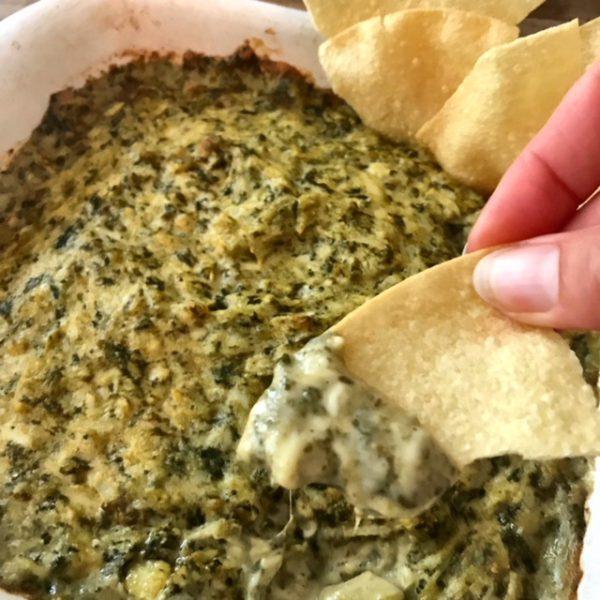 Vegan spinazie artisjok dip